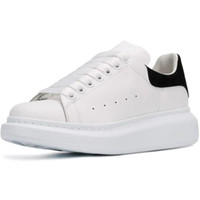 Wholesale shoe soling for sale - Group buy New Men Shoes Fashion Casual Suede Women Leather Lace Up Tripler Platform Sole Sneakers White Black Casual Shoes