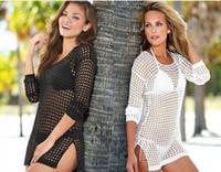 ingrosso maglietta da spiaggia bikini-Raodaren 2019 Summer Women Sexy Mesh lavorato a maglia all'uncinetto Beach Tops T-Shirt Swimsuit Cover Up Swimwear Bikini Wrap Costume da bagno