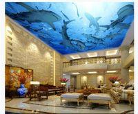 murais de parede subaquáticos para venda por atacado-Atacado-Interior de Teto 3D Personalizado Foto Papel De Parede Mural Underwater World Sharks Hotel Lobby Teto Teto Mural Mural