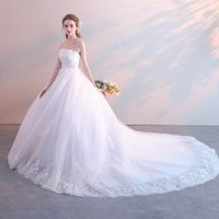 1975acbecf Corset Ball Gown Wedding Dresses 2019 Sweetheart Floor Length Sweep Trian  Applique Puffy Bride Married Wedding Gowns