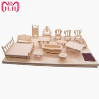 Wholesale puzzles c for sale - Group buy ames and Puzzles Puzzles set Dollhouse Mini Furnitures Children s Educational Wooden Doll Furniture Toy d Puzzle Model Kit C