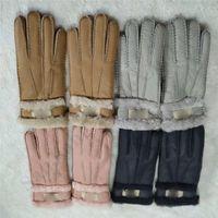 Wholesale sport cloths men for sale - Group buy Australia UG Shearling Sheepskin Glovers Brand Women Men Suede Leather Glove Wateroof Fleece Wool Fur Winter Mittens Ski Sport Cloth C101802
