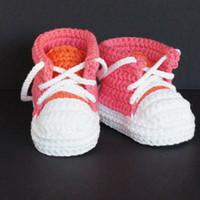 tığ işi spor ayakkabıları toptan satış-QYFLYXUEHandmade Bebek Boys Crochet Patik Örme Spor Ayakkabı Yumuşak Sole Kapalı Günlük Ayakkabılar Pamuk