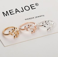 Wholesale olive leaf silver for sale - Group buy Charms Two colors Olive Tree Branch Leaves Open Ring for Women Girl Wedding Rings Adjustable Knuckle Finger Jewelry Xmas