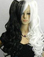 siyah beyaz at kuyruğu peruk toptan satış-LL 2848 Bölünmüş Tipi Peruk Uzun Dalgalı Siyah + Beyaz Mix Ponytails ile Cosplay Peruk