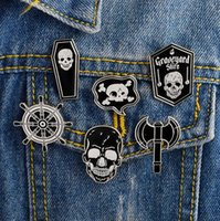 Wholesale nautical compasses for sale - Group buy Punk Skeleton Pirate Nautical Compass Ax Skull Coffin Enamel Pin Badge Brooch Women s Men Shirt Denim Jacket Pin
