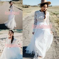 Wholesale new white ivory lace wedding dress resale online - Bohemian Sheer Long Sleeve Beach Wedding Dresses New Lace Top Garden Boho Bridal Gowns White Tulle Country Wedding Dress Robe de mariee