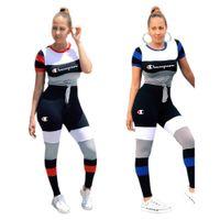 sıyrılmış üstler kadınlar toptan satış-Şerit Ekleme Şampiyonlar Mektup Kadın Spor Takım Elbise Çizgili Patchwork Tişört En tees + Pantolon 2 Parça Set Eşofman Rahat Kıyafet S-2xl C3251