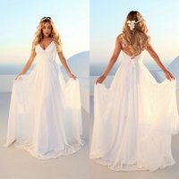 Wholesale sexy wedding dresses fitted sheer resale online - Elegant Boho Women Straps Long Wedding Dresses Wedding Gown V Neck Lace Bohemian Slim Fit Party Sexy Bride Dress Cheap