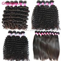 bakire indian saç düz 4pcs toptan satış-Glamorous İnsan Saç Uzantıları 4 adet Karışık Uzunluk Brezilyalı Malezya Hint Perulu Bakire Saç Düz Doğal Dalga Derin Dalga Kıvırcık Saç