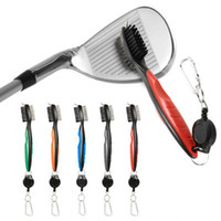 cepillo de cerdas de nylon al por mayor-Mini cepillo de club de golf dual para herramientas Limpiador de cerdas de alambre de nylon con llavero Pinceles portátiles Kits multifunción de tirolina ZZA925