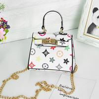 Wholesale cute messenger purse for sale - Group buy Kids Handbags print Designer baby Mini Purse Shoulder Bags Teenager children Girls Messenger Bags Chain Bag Cute Princess rectangl Bag