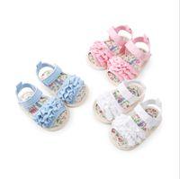 pamuklu yenidoğan sandaletleri toptan satış-Çiçek Bebek Sandalet Yumuşak Taban Pamuk Sandalet kaymaz Yenidoğan Sneaker Bebek Kız Ayakkabı Yaz Toddler Ayakkabı 3 renkler YW3370