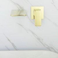 cascata da faucet da bacia montada na parede venda por atacado-Rose Gold e Bronze Dourado Fixado Na Parede Do Banheiro Torneira Da Bacia Torneira Cachoeira Torneira Fria E Quente