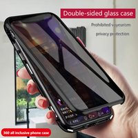 Wholesale water resistant glasses case for sale - Group buy For iPhoneXS MAX anti peep phone case XR magnetic Adsorption double sided glass i7 P all inclusive protective cover