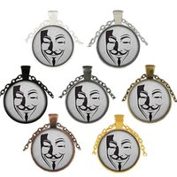 Wholesale vendetta mask woman resale online - V Vendetta Mask Gem Necklace Retro Zinc Alloy Vendetta Pendants Halloween Man Woman Necklace Festival Gifts HHA834