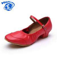 zapatos de salón tacón bajo al por mayor-Zapatos de vestir de diseñador HUANQIU 2019 Nueva llegada Marca de moda Mujeres Chicas Salón de baile Tango latino de tacón bajo moderno Tamaño 34-41 JH177