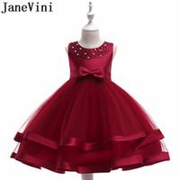 синий зеленый девочек мяч оптовых-JaneVini красное платье девушки цветка бальное платье шампанское длиной до колен дети бальные платья Vestidos Menina De Flor Para Casamentos 2019