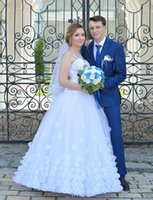 Wholesale plus size tulle wedding dress resale online - 2019 Arabic Luxury Wedding Dresses plus size spaghetti Bridal Gowns D Floral Appliques Ball Gown beaded crystal Wedding Gowns custom made