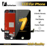 siyah beyaz iphone toptan satış-IPhone 7 için LCD Ekran Beyaz Siyah LCD Ekran Dokunmatik Digitizer Çerçeve Meclisi Onarım iPhone 7 Ücretsiz DHL Kargo