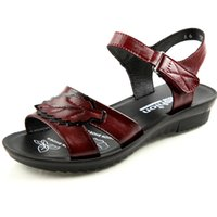 плоские кожаные сандалии оптовых-Summer New Women Flat Sandals Genuine Leather Shoes for Ladies Female Gladiator Sandals Peep Toe Women Beach Sandles
