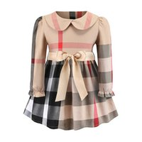 Wholesale flower wind resale online - plaid dress NEW styles spring Girls lapel European and American Wind long sleeve cotton baby kids flowers collar casual dress