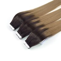 Wholesale ombre glue hair extensions remy for sale - Group buy Color Double Drawn inch Glue Skin Weft PU Tape in Human Hair Extensions INDIAN REMY huge stock delivery g