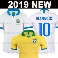 neymar jr brasil jersey al por mayor-2019 Camiseta de fútbol Brasil Brazil NEYMAR JR Copa América camisa blanca de fútbol hombres mujeres G JESUS P COUTINHO MARCELO FIRMINO PAQUETA AAA soccer jersey football shirt de calidad de Tailandia