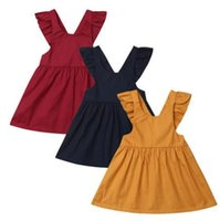 Wholesale baby girl cool clothes online - Baby girl Flying sleeve dress cute solid Loli skirt outdoors travel soft cool children Princess dress Spring Infant Clothes LJJQ146