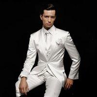 beyaz fildişi damat smokinleri toptan satış-Özel Fildişi Beyaz Erkekler Düğün Saten Örgün Smokin Damat Balo Partisi için Suits Erkekler Slim Fit Kostüm Homme Mariage Ternos Suits