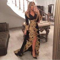 dubai altın tasarımları toptan satış-Uzun Kollu V Yaka Örgün Abiye Altın Aplike Bölünmüş Abaya Tasarımları Dubai Türk Balo Abiye Modelleri Fas Kaftan