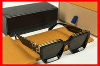 volle schwarze platte großhandel-Luxus-Millionärs-Sonnenbrille Schwarz Voll Rahmen Vintage-Sonnenbrille für womenmen Glänzende Gold Logo verkaufen Vergoldete Nagelneu im Kasten