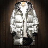abrigo de plata brillante al por mayor-abrigo de invierno de los hombres de 2019 hombres en el nuevo largo de la tendencia apuesto engrosamiento ropa de algodón acolchado ropa de algodón de plata brillante