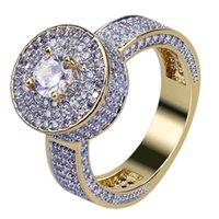 anillo de oro circonio cz cz al por mayor-Cluster de encargo de oro anillo de CZ Micro Pave Cubic Zirconia Diamantes simulada anillo para hombre del oro de Hip hop cortezas de lujo
