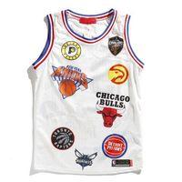 basılı yelek toptan satış-19SS Moda Rahat Yüksek Sokak Erkek Tasarımcı Tshirt Mektup Baskılı Basketbol Takımı Erkek Spor Yelek Erkek Spor Giyim