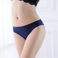 Wholesale sexy silk bikini woman underwear online – Sexy Ice Silk Low Waist Briefs Back Floral Lace Panties Women Sexy Bikini Underwear Lingerie Women Clothes Drop SHip