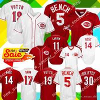 mini tezgah toptan satış-5 Johnny Bench Jersey Cincinnati Erkekler Kırmızılar 11 Barry Larkin 14 Pete Rose 19 Joey Votto 17 Chris Sabo 30 Griffey Beyzbol Formaları