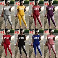ingrosso pantaloni yoga per ragazze-Pink Letter Tuta Tshirt manica corta Tops Pantaloni 2 pezzi Donna Set Outfit Outwear Ragazza Casual T-shirt Leggings Abbigliamento sportivo Abbigliamento Tute new