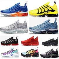 amarração de badminton venda por atacado-2019 Novo Olímpico TN Plus Mens Mulheres Running Shoes Bumblebee STRING Trabalho Azul Zebra Bumblebee Desvanece-se Azul Betrue Sports Sneakers 36-45