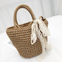 Wholesale vacation packages for sale - Group buy Belle2019 Straw Rui Man Plaited Article Woman Seaside On Vacation Sandy Beach Bali Hand Bill Of Lading Shoulder Package Bow Weave