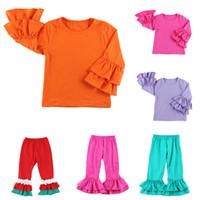 diseño para tops de algodon al por mayor-Trajes de chicas Solid Ruffle 35 Diseño Bebé plisado Tops niños de diseño de ropa otoño de las muchachas del algodón de empalme pantalones Adolescentes equipos ocasionales 06