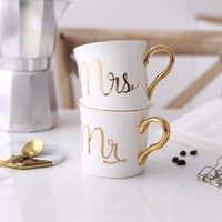 Wholesale china tea cups for sale - Group buy Lekoch Bone china Ceramic Mug Cup Grey Pink Colors Mr and Mrs Travel Mug white Pattern Gold handle Tea Milk Cups and Mugs
