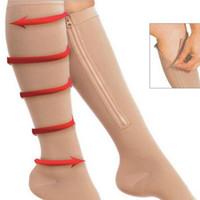 Wholesale one shaper resale online - Zippered Sport Compression Knee Socks Open Toe Stockings Zippered Knee High Supports Stockings Leg Shaper For Women RRA1189