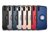 iphone emici toptan satış-2019 Uygulanabilir iPhone Xs Max Halka Zırh Dayanıklı Set Apple 7 artı Manyetik Enayi Araba Monte Destek Braketi telefon kılıfı