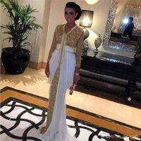 ingrosso più abiti di occasione speciale di maternità di formato-Abiti da sera in chiffon paillettes 2019 Abiti da sera da sera di Kaftan Abaya a Dubai con abito da promenade marocchino vestito da kaftan bianco