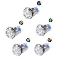 ingrosso pulsante 19mm-19mm Lunghezza filettatura vite 35mm 12V 24V 220V LED Impermeabile Chiusura momentanea Pulsante Flate Switch Interruttori auto C45