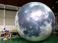plastik aufblasbare karikaturen großhandel-Freies Verschiffen Heiße Party Party Aufblasbare Glühen im Dunklen Mond Ballon aufblasbare LED Beleuchtung Planet Moon für Verkauf