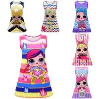 vestidos de xmas venda por atacado-11 cores crianças meninas pijamas dress surpresa boneca sereia mangas sleepwear ins festa vestido de verão verão 3-10t presente de natal