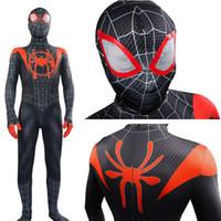 trajes de spiderman adultos al por mayor-Cosplay traje de Spider-Man en la araña verso Miles Morales Zentai del hombre araña máscara cosplay de los hombres Traje adulto