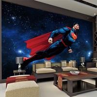 cool 3d wallpaper großhandel-Superman Wallpaper 3D Wallpaper für Wände Galaxy Fototapete Super Hero Wallpaper Kinder Schlafzimmer TV Hintergrund Wandverkleidung Cool